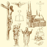 Christianity. Religion - hand drawn set Royalty Free Stock Photography
