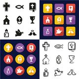Christianity All in One Icons Black & White Color Flat Design Freehand Set Royalty Free Illustration