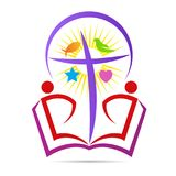 Christianity bible cross hope believe peace symbol logo stock illustration