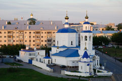 Christianity church in Kazan. With white walls Stock Photos