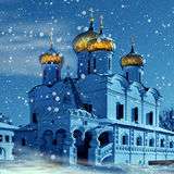 Christianity church in Russia, Christmas. Evening, christianity church in Russia, Kostroma city, Ipatievsky monastery in snowstorm royalty free stock images