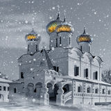 Christianity church in Russia, Winter vector illustration