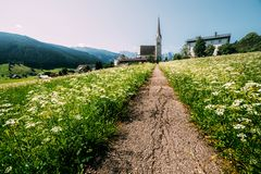 Christianity churh in Gosau village at sunny day. Alps, Austria, Europe. Landscape photography Stock Images