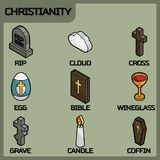 Christianity color outline isometric icons. Vector illustration, EPS 10 Royalty Free Stock Photo