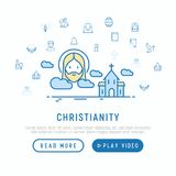 Christianity concept with thin line icons. Of priest, church, nun, crucifixion, Jesus, bible, dove. Modern vector illustration, template for web page stock illustration