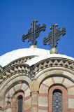 Christianity cross. The two cross of the top of orthodox temple of Saint Marko, Belgrade, Serbia, in the center of city near Tasmajdan park Royalty Free Stock Photography