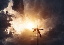 Free Christianity Cross And Stormy Clouds Royalty Free Stock Images - 175474129