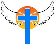 Christianity cross with angel wings. Cross of christianity religion emblem composed with angel wings on creative vector logo Stock Images