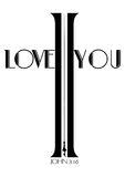 Christianity cross shape in word I love you  Stock Image