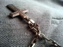 Christianity cross. With simbols on canvas background royalty free stock photography