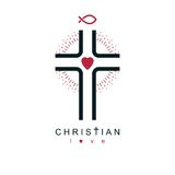 Christianity Cross true belief in Jesus vector symbol, Christian Royalty Free Stock Photography