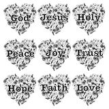 Christianity design set with heart flora line art and words God Jesus Holy Peace Joy Trust Hope Faith Love Royalty Free Stock Image