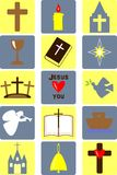 Christianity. Different images about the Bible and the Church Vector Illustration