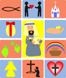 Christianity. Different images about the Bible and the Church Stock Illustration