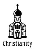 Christianity emblem or icon. In black and white with a church building with an onion dome and cross and the word - Christianity - below Stock Images