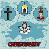 Christianity flat concept icons. Vector illustration, EPS 10 Stock Image