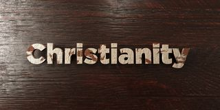 Christianity - grungy wooden headline on Maple  - 3D rendered royalty free stock image Stock Photography