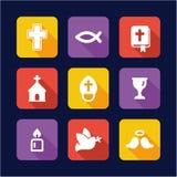 Christianity Icons Flat Design Stock Photos