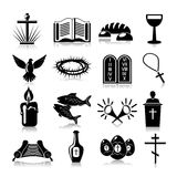Christianity icons set black Royalty Free Stock Photography