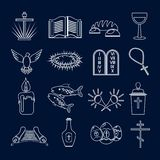 Christianity icons set outline Royalty Free Stock Image