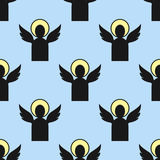 Christianity religion angelsseamless pattern vector illustration of traditional holy religious black silhouette praying. Christianity religion flat angels stock illustration