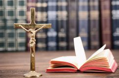 Christianity Religion concept,Holy Bible and Christian cross. Christian cross on a wooden background, Jesus Christ concept, Holy Bible concept royalty free stock image