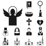 Christianity religion flat icons vector illustration of traditional holy religious black silhouette praying people Stock Photo
