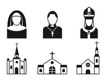 Christianity religion flat icons vector illustration of traditional holy religious black silhouette praying people Royalty Free Stock Photo