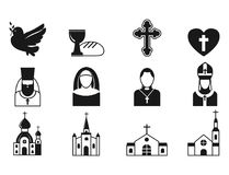 Christianity religion flat icons vector illustration of traditional holy religious black silhouette praying people Royalty Free Stock Photos