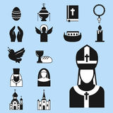 Christianity religion flat icons vector illustration of traditional holy religious black silhouette praying people Royalty Free Stock Images