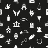 Christianity religion symbols black and white seamless pattern eps10 Stock Photo