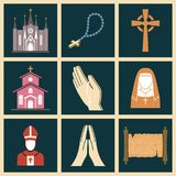 Christianity religion vector religionism flat illustration of traditional holy sign silhouette praying religionary. Christianity religion vector religionism flat Royalty Free Stock Photo