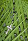 Christianity - Rosary And Palm Leaves Stock Photography