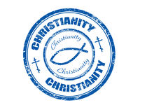 Christianity stamp. Blue grunge rubber stamp with fish symbol and the word christianity written inside the stamp Royalty Free Stock Photo