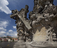 Christianity Statue at Charles Bridge in Prague Stock Photography