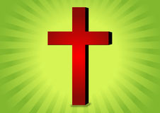Christianity symbol. Red christianity symbol in sunrise background eps Royalty Free Stock Photography