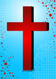 Christianity symbol. Red christianity symbol in blue background with stars eps Stock Photos