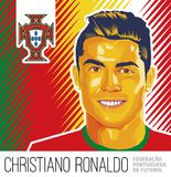 Christiano Ronaldo Portuguese Football Star. An illustrated Portrait of Portuguese national TEAM football star Christiano Ronaldo aka CR7 to be featured in WORLD vector illustration