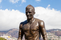 Christiano Ronaldo Statue. A statue of footballer Christiano Ronaldo is pictured on the Funchal waterfront on the Portuguese island of Madeira Stock Photo