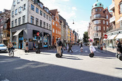 Christians IX`s Gade 1 street in Copenhagen, people getting arou Royalty Free Stock Photography