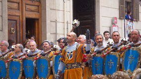 Christians vs Moors parade in Alcoy Stock Images