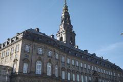 Christiansborg宫殿看法  免版税库存照片