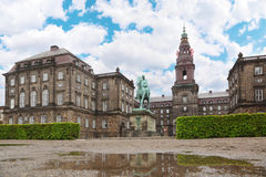 Christiansborg Palace and equestrian statue Royalty Free Stock Photos