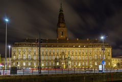 Christiansborg Palace in evening, Copenhagen Stock Images
