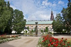 Christiansborg Palace Gardens & Fountain Stock Photo