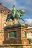 Christiansborg Palace and statue of Christian IX illuminated in Stock Photo