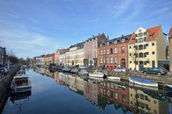 Christianshavn Copenhaghen del canale Fotografia Stock Libera da Diritti