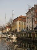 Christianshavns Kanal à Copenhague, Danemark images libres de droits
