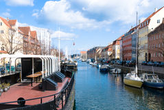 Christianshavns Kanal. In  Christianshavn city district, Copenhagen, Denmark. Separating Christianshavn in a City Side and a Rampart Side part Stock Image