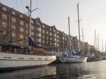 Christianshavns Kanal em Copenhaga, Dinamarca imagem de stock royalty free